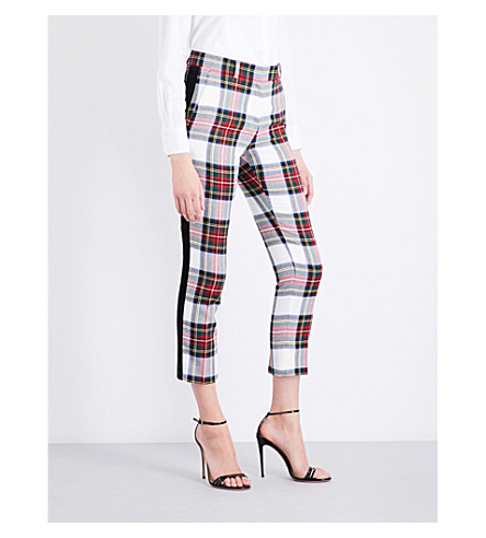 RACIL Aries tapered cropped high-rise wool trousers (Tartan+white+black