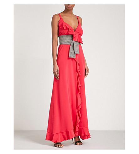 RACIL Geisha sleeveless silk-crepe gown (Red