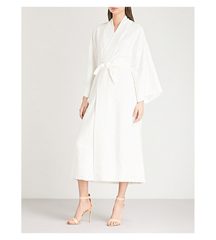 RACIL Hatsumomo belted polka dot-jacquard kimono (Ivory+dots