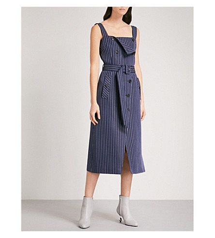 ALTUZARRA Audrey pinstripe twill midi dress (Navy