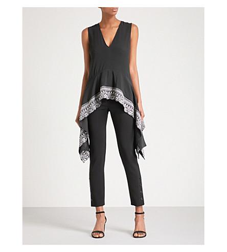 ALTUZARRA Didy handkerchief-hem crepe top (Black