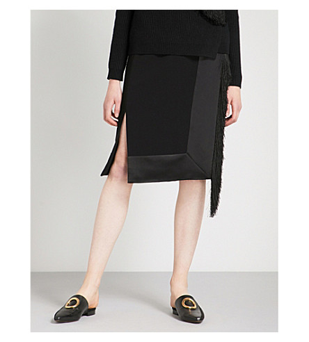 ALTUZARRA Jude fringed-trim crepe and satin dress (Black