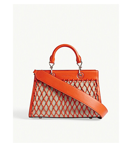 ALTUZARRA Shadow canvas and leather tote (Persimmon