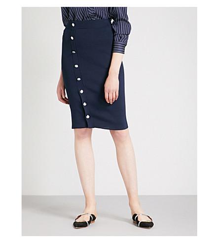 ALTUZARRA Enya button-detail knitted skirt (Navy