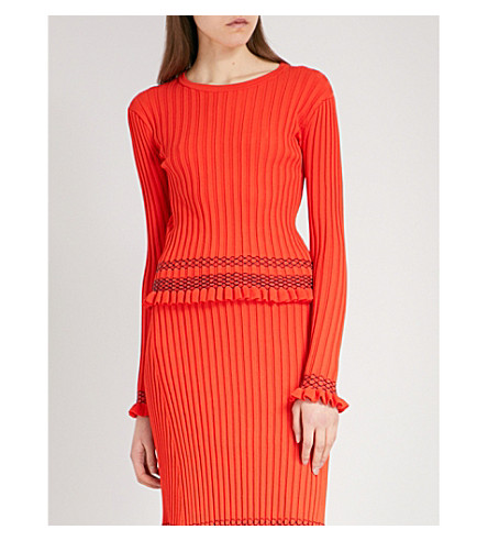 ALTUZARRA Malou contrast-stitch ribbed-knit top (Persimmon