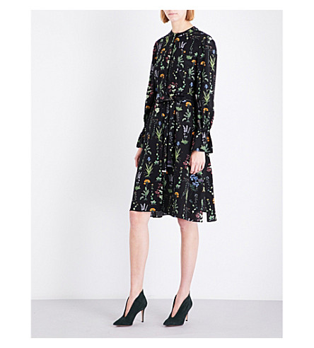 ALTUZARRA Leighton floral-print silk dress (Black+multi