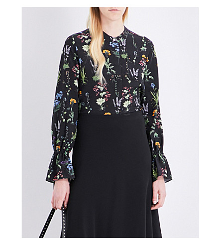 ALTUZARRA Christina silk blouse (Black+multi