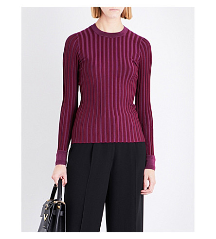 ALTUZARRA Regan ribbed stretch-jersey top (Port