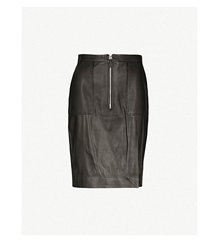 ALTUZARRA Pollard leather pencil skirt (Black