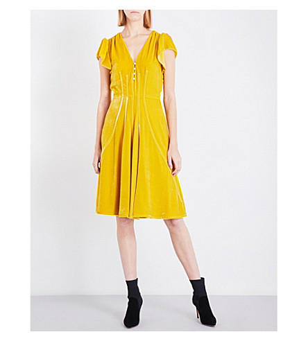 ALTUZARRA Camilla fit-and-flare velvet dress (Saffron