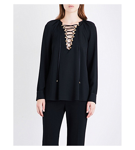 ALTUZARRA Aminta lace-up silk-blend top (Black