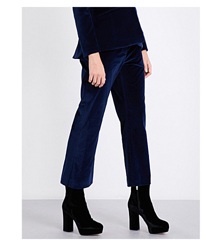 ALTUZARRA Nettle straight cropped mid-rise velvet trousers (Midnight