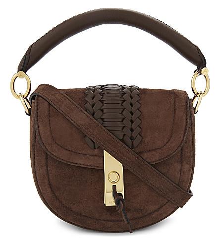 ALTUZARRA Ghianda suede saddle bag (Chocolate