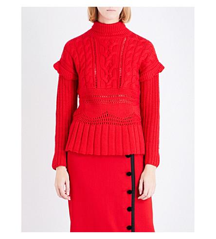 ALTUZARRA prelude cable-knit wool jumper (Scarlet