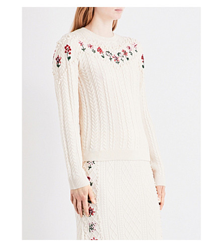 ALTUZARRA Amalia embroidered wool and cotton-blend jumper (Natural+white