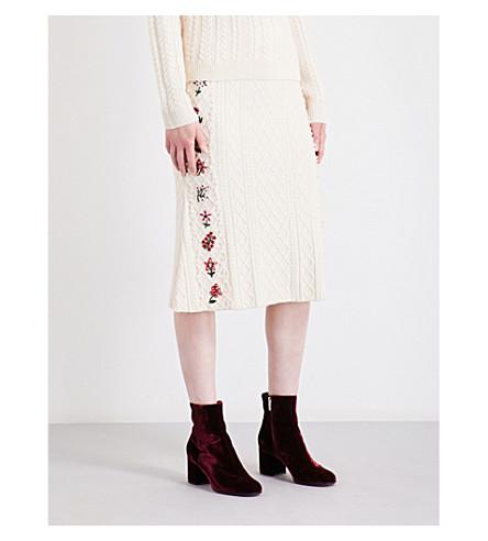 ALTUZARRA Letta embroidered wool-blend midi skirt (Natural+white