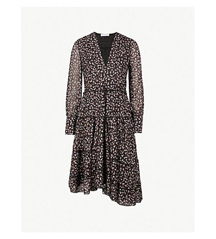ALTUZARRA Isabel piped floral-print silk-blend dress (Black