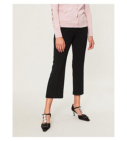 ALTUZARRA Cropped high-rise crepe trousers (Black