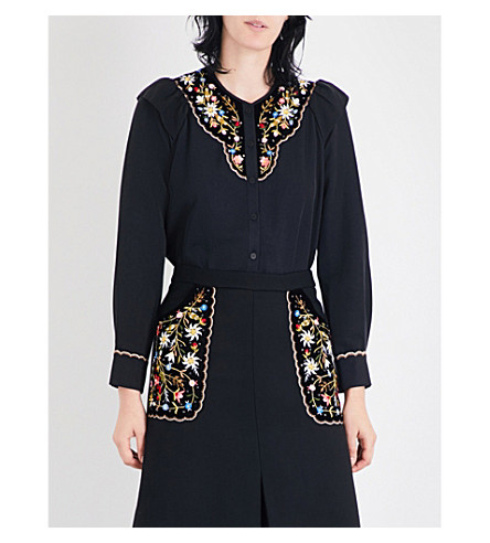 VILSHENKO Marina floral-embroidered cotton and silk-blend blouse (Black/multi