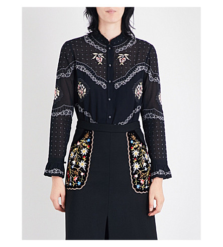 VILSHENKO Calina embroidered cotton-voile shirt (Black/multi