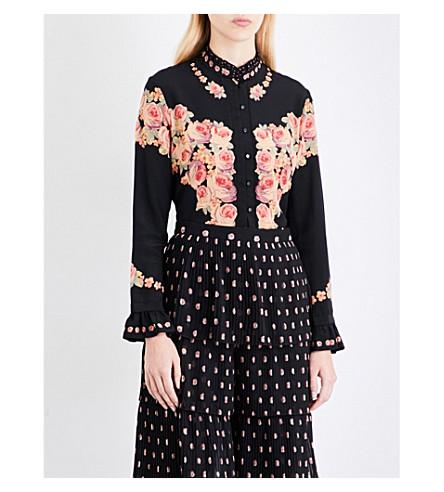 VILSHENKO Kalisa floral-print silk-crepe shirt (Black/multi