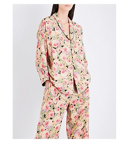 VILSHENKO Adla floral-print silk blouse (Nude/multi