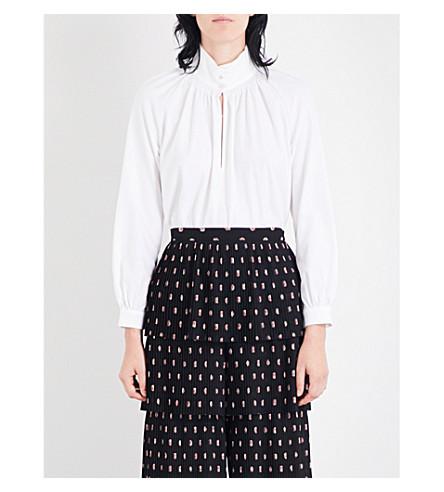 VILSHENKO Dinah high-neck cotton shirt (Ivory