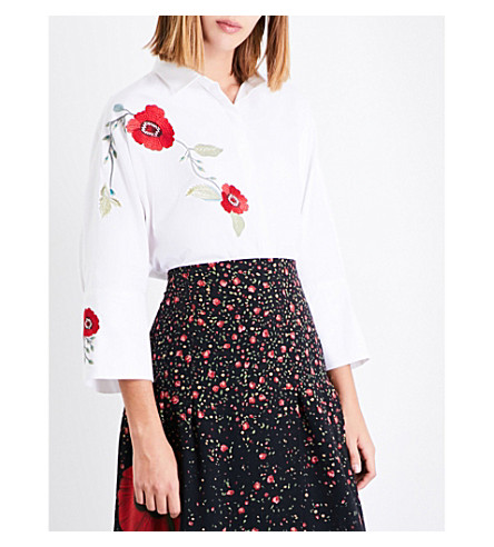 VILSHENKO Serena floral-embroidered cotton-piqué shirt (White/multi