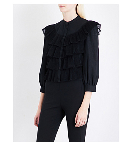 VILSHENKO Adarcie ruffled cotton blouse (Black/multi