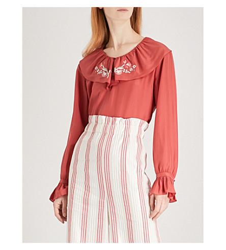 VILSHENKO Celita silk blouse (Red/cream