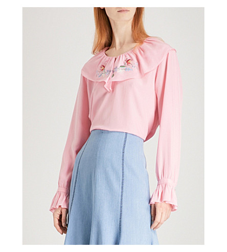 VILSHENKO Delita silk blouse (Pink/multi