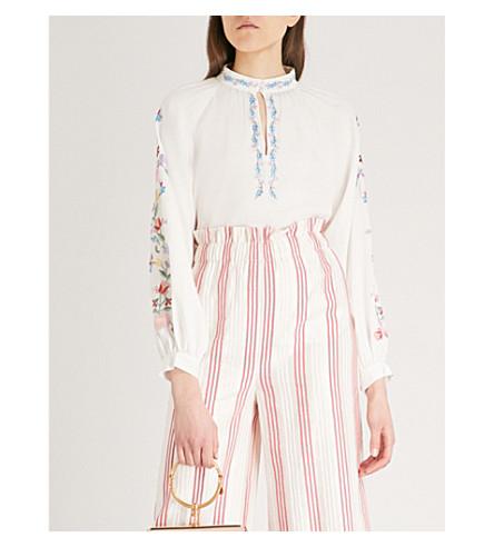 VILSHENKO Faye silk blouse (Ivory/multi
