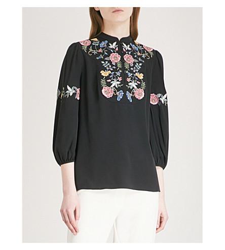 VILSHENKO Azara embroidered silk blouse (Black/multi