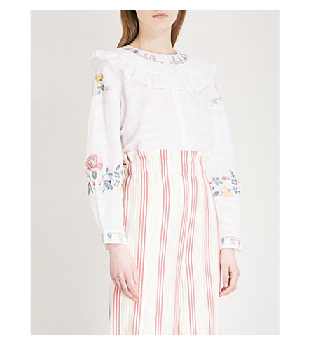 VILSHENKO Jenny floral-embroidered cotton blouse (White/multi