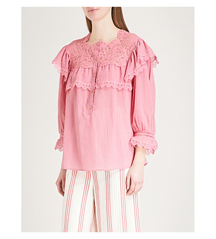 VILSHENKO Clarissa frilled cotton-voile top (Raspberry
