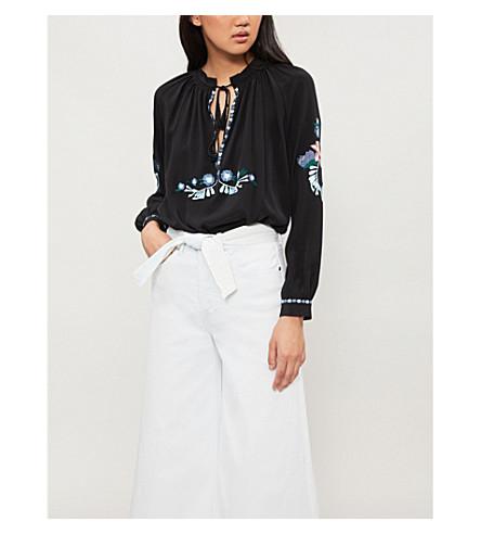 VILSHENKO Zeta embroidered silk top (Black/multi