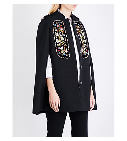 VILSHENKO Eugenia floral-embroidered gabardine cape (Black/multi