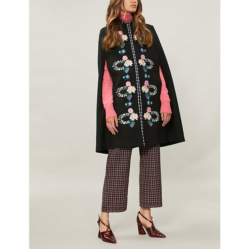 Alexis embroidered wool-twill cape