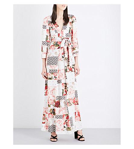 VILSHENKO Mayria patchwork-print silk crepe-de-chine gown (Cream/ multi
