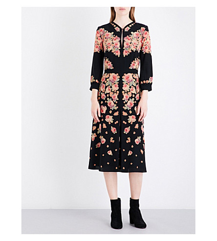 VILSHENKO Detava floral-print silk-crepe midi dress (Black/multi