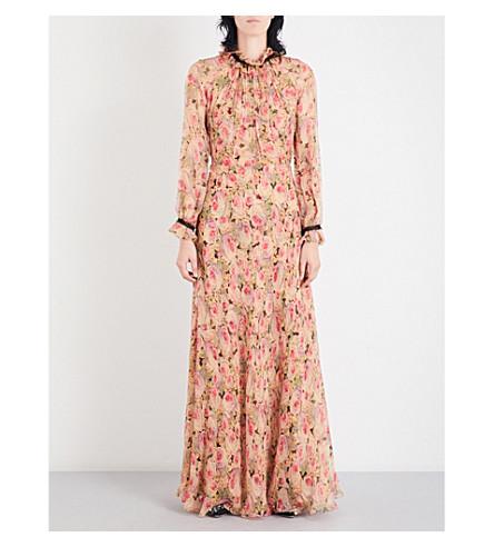 VILSHENKO Ennafa floral-print silk-chiffon maxi dress (Nude/multi