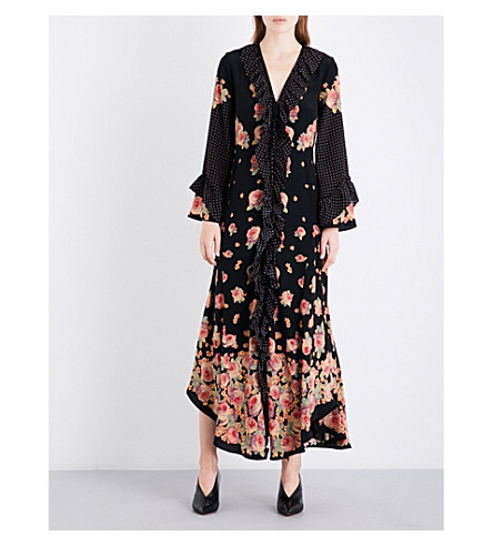 VILSHENKO Aventina floral-print silk-crepe maxi dress (Black/multi