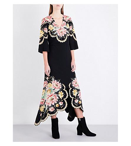 VILSHENKO Tilda floral-print silk-crepe midi dress (Black/multi