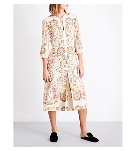 VILSHENKO Grace floral-print silk midi dress (Cream/multi