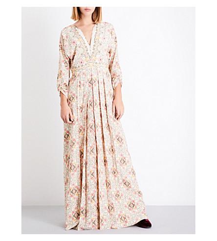 VILSHENKO Anna Maria floral-print silk midi dress (Cream/multi