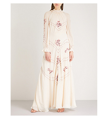 VILSHENKO Cara silk maxi dress (Cream/multi