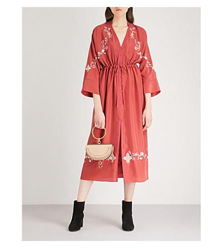 VILSHENKO Celishia silk midi dress (Red/cream