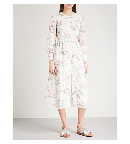 VILSHENKO Kimberley embroidered cotton midi dress (Sage/multi