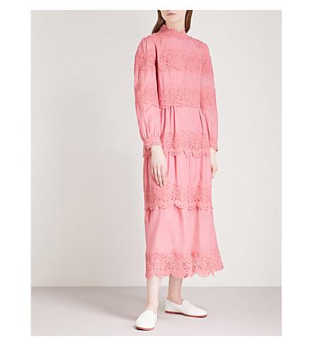 VILSHENKO Juliette cotton and silk-blend midi dress (Raspberry