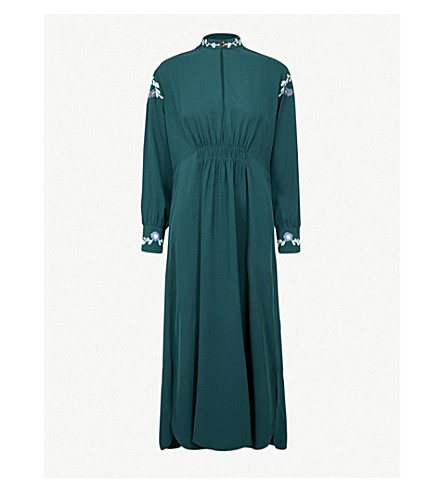 VILSHENKO Frieda floral-embroidered silk-crepe midi dress (Green/multi